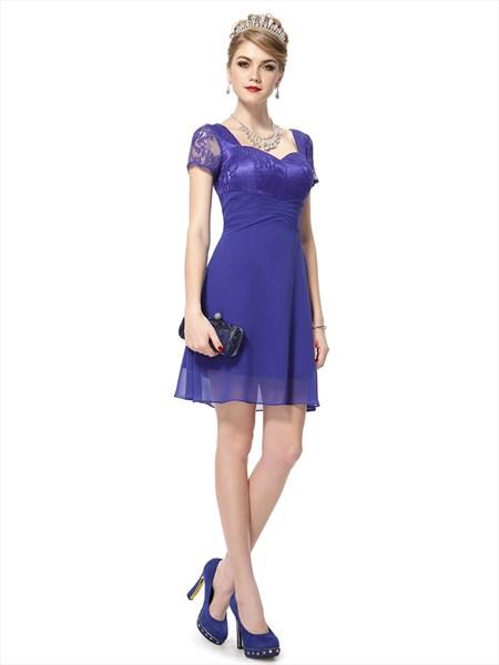 Royal Blue Chiffon Short Sweetheart Bridesmaid Dresses With Lace Bodice