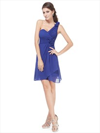 Royal Blue One Shoulder Chiffon Bridesmaid Dresses With Floral Detail