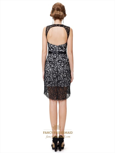 Black And Silver Sheath Lace Open Back Cocktail Dress With High Low Hem