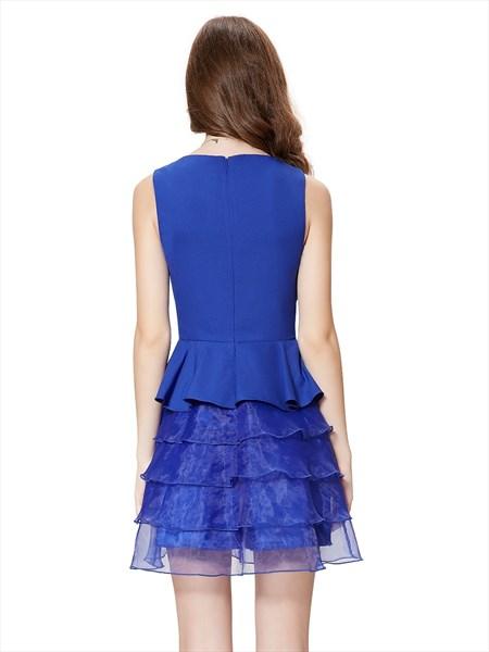 Royal Blue Short Peplum Cocktail Dress With Layered-Ruffle Detail