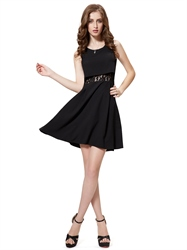 Black Short Embellished Cocktail Dresses With Lace Illusion Waist