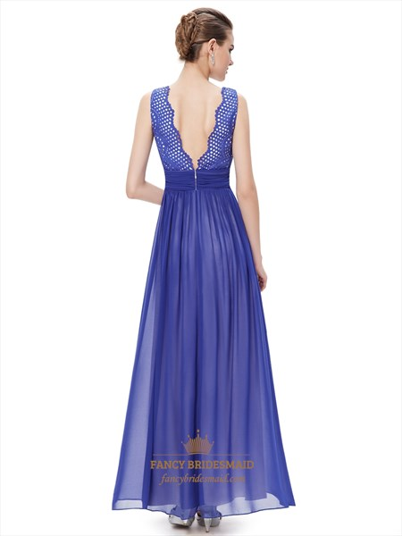 Elegant Royal Blue Chiffon Formal Dresses With Embellished Bodice