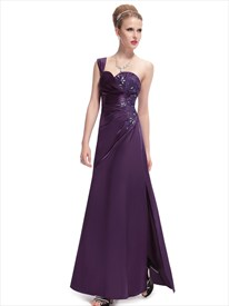 Grape One Shoulder Floor Length Prom Dress With Beaded Lace Applique