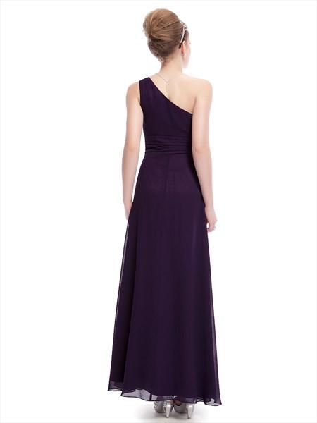 Grape One Shoulder Chiffon Bridesmaid Dresses With Floral Appliques