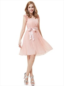 Light Pink Chiffon Knee Length Bridesmaid Dress With Ruffles