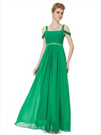 Elegant Green Chiffon Floor Length Evening Dress With Beaded Detail
