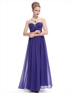 Royal Blue Sweetheart Chiffon Bridesmaid Dresses With Empire Waist