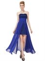 Royal Blue Strapless Chiffon Bridesmaid Dresses With Split Front