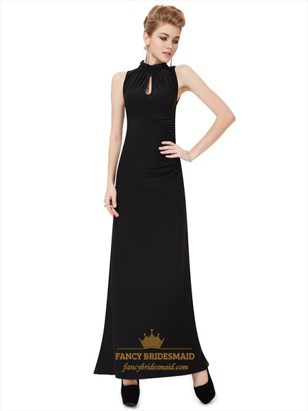 Black Sheath High Neck Embellished Prom Dress With Keyhole Detail