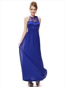 Royal Blue Lace Illusion Neckline Chiffon Floor Length Bridesmaid Dress