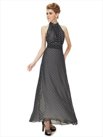 Women'S Casual Black And White High Neck Long Polka Dot Summer Dress