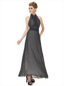 Women'S Casual Black And White High Neck Long Polka Dot Summer Dress