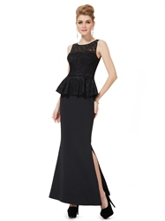 Black Mermaid Peplum Style Mother Of The Bride Dresses With Lace Bodice