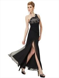 Black Chiffon One Shoulder Lace Bodice Bridesmaid Dress With Split