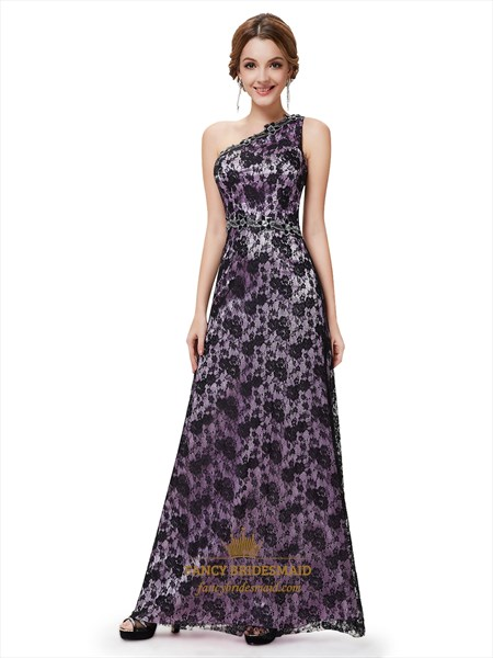 Black And Purple One Shoulder Lace Prom Dresses With Embellishments