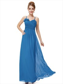 Blue Chiffon Spaghetti Strap Bridesmaid Dresses With Floral Detail