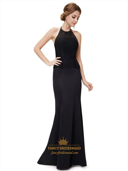 Black Halter Neckline Two Tone Mermaid Prom Dress With Lace Bodice