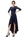 Navy Blue Lace Illusion Neckline High Low Dress With 3/4 Sleeves