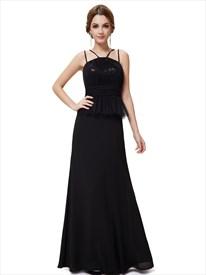 Black Chiffon Spaghetti Strap Peplum Prom Dress With Sequin Bodice