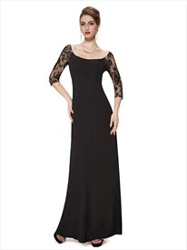 Black Sheath Floor Length Mother Of The Bride Dresses With Lace Sleeves