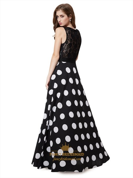 Black And White Polka Dot Lace Bodice Party Dress With Beaded Detail