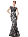Elegant Black Mermaid Lace Floor Length Prom Dress With Cap Sleeves