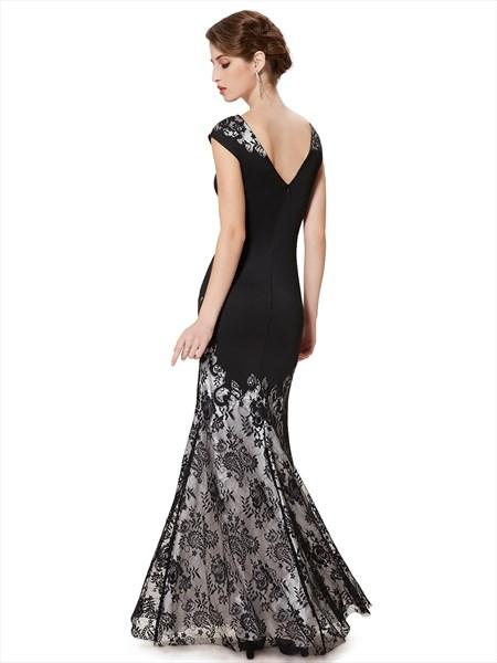Elegant Black Mermaid Lace Floor Length Prom Dress With Cap Sleeves