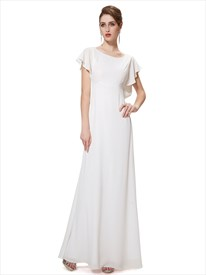 Ivory Chiffon Sheer Back Long Bridesmaid Dress With Flutter Sleeves