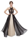 Black And Champagne Halter Bridesmaid Dresses With Beaded Waist