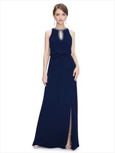 Navy Blue Chiffon Jewelled Neckline Prom Dress With Keyhole Detail