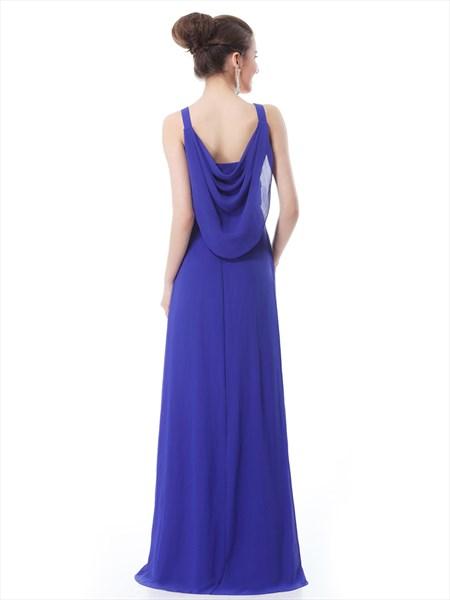 Royal Blue V Neck Chiffon Bridesmaid Dress With Beaded Waistband