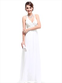 White Halter Top Chiffon Empire Waist Bridesmaid Dresses With Applique
