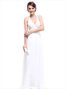 White Halter Top Chiffon Empire Waist Bridesmaid Dresses With Applique