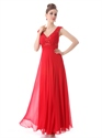 Red Chiffon V Neck A Line Prom Dress With Beaded Neckline And Straps