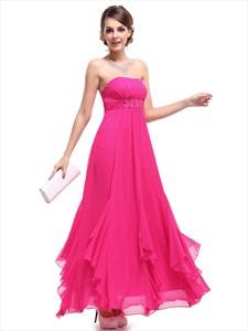 Hot Pink Strapless Empire Waist Bridesmaid Dresses With Ruffle Skirt