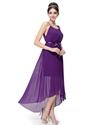 Purple Chiffon Spaghetti Strap Bridesmaid Dresses With High Low Hemline