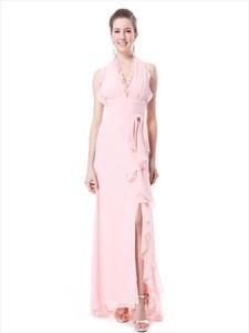 Pink Chiffon Halter Neck Side Split Bridesmaid Dresses With Ruffle