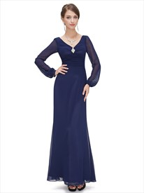 Navy Blue Chiffon Sheath Mother Of The Bride Dresses With Beaded Detail