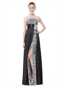 Elegant Black And White Strapless Prom Dresses With Rhinestone Detailing
