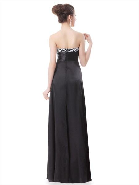 Elegant Black And White Strapless Prom Dresses With Rhinestone Detailing