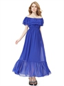 Royal Blue Off The Shoulder Chiffon Ruffled Neckline Bridesmaid Dress