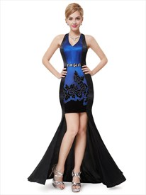 Black And Blue Halter High Low Prom Dresses With With Beaded Waist