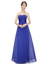 Royal Blue Chiffon Strapless Long Bridesmaid Dress For Beach Wedding