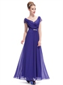 Royal Blue Chiffon V Neck Cap Sleeves Prom Dress With Beaded Detail