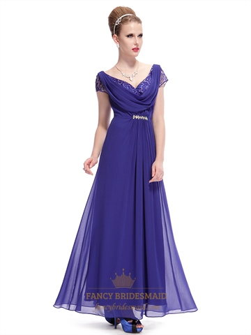 Royal blue chiffon v neck cap sleeves prom dress with for Wedding dress with blue detail