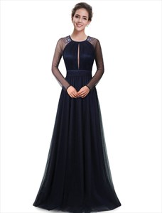 Navy Blue Beaded Mother Of The Bride Dresses With Sheer Long Sleeves