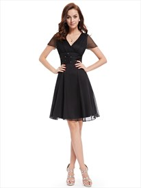 Black Chiffon V-Neck Knee Length Bridesmaid Dress With Beaded Waistband