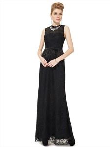 Black High Neck Sheath Lace Keyhole Back Prom Dress With Feathers