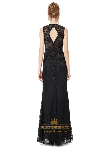 Black High Neck Sheath Lace Keyhole Back Prom Dress With Feathers