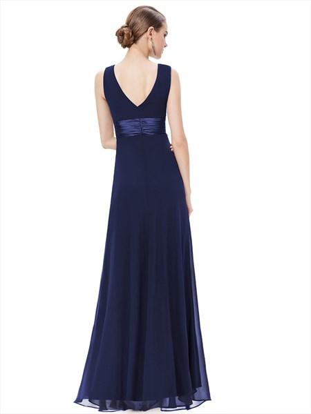 Navy Blue V Neck Chiffon Long Bridesmaid Dresses With Beaded Detail